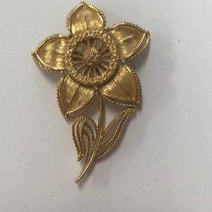 Monet gold flower pin